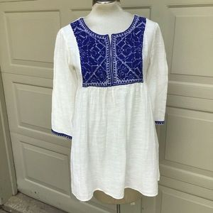 nwt ZARA WOMAN gauzy embroidered tunic blouse S